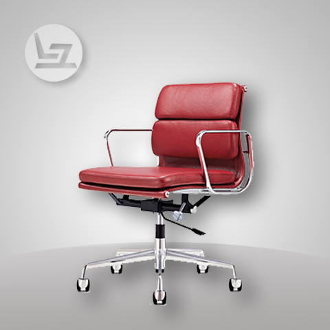 eames-style-red-genuine-leather-padded-medium-back-chair