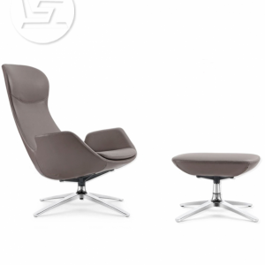 Swan Ash Gray Leather (lounge-chair)